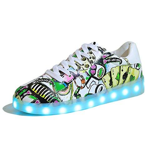KE Womens Girls 11 Mode LED Schuhe Light-Up Trainers Sport Schuhe Sneakers USB Aufladen für Valentinstag Weihnachten Halloween Geschenk (EU35, Yellow)