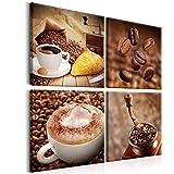 decomonkey | Bilder Kaffee Coffee 60x60 cm XXL | 4 Teilig | Leinwandbilder | Vlies Leinwand | Wand | Bild auf Leinwand | Wandbilder | Wandbild | Kunstdruck | Wanddeko | Wandbilder Küche