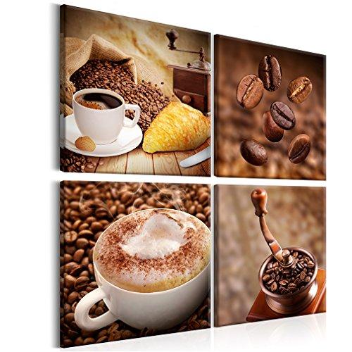 decomonkey Bilder Kaffee Coffee 60x60 cm 4 Teilig Leinwandbilder Bild auf Leinwand Vlies Wandbild Kunstdruck Wanddeko Wand Wohnzimmer Wanddekoration Deko Küche
