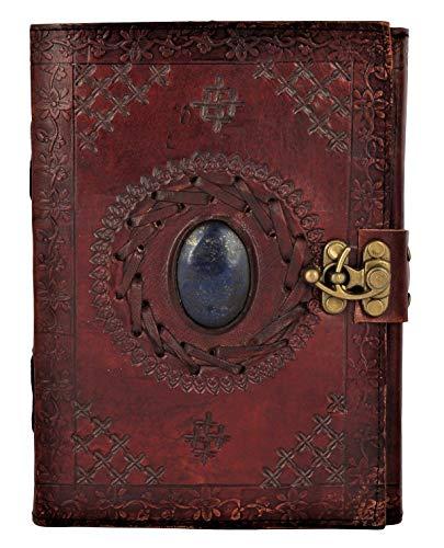 Leder Notizbuch Journal mit Halbedelstein & Schnallenverschluss - Leder Tagebuch Geschenk für Männer und Damen