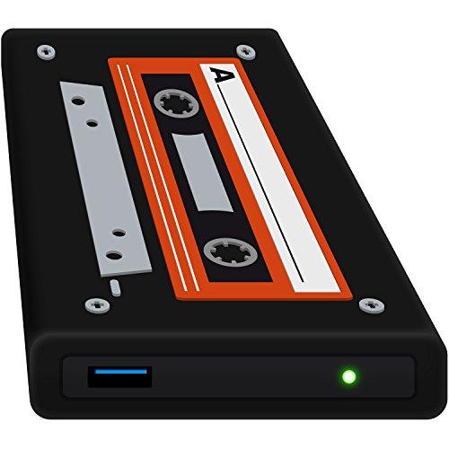 HipDisk LS132 Old School externes Festplattengehäuse 2,5 Zoll USB 3.0 aus Aluminium mit Silikon-Schutzhülle für SATA HDD und SSD stoßfest wasserabweisend schwarz-orange -