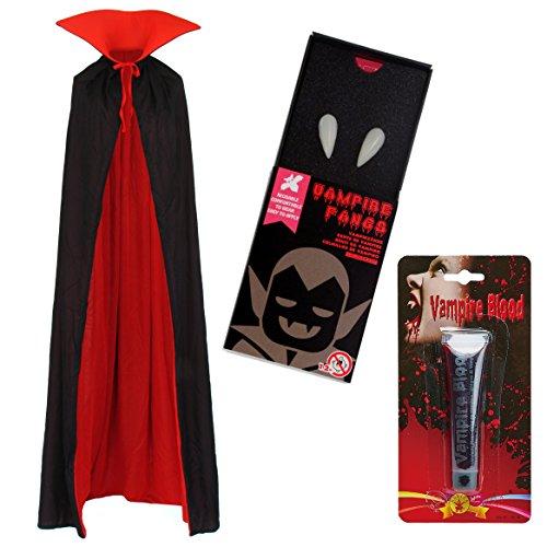 papapanda Vampir Stehkragen Schwarz Rot Umhang Zähne Kunstblut Set für Erwachsene Halloween Dracula Kostüm 170cm ()