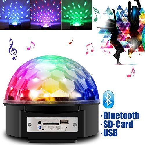 Light Strobe Crystal (JUDYelc Crystal Ball Disco Bluetooth Bühnenlampe mit Fernbedienung Sound Aktiviert Strobe-Effekt 7-Pattern Rotating RGB LED Party Light Show für Hochzeit Shows Dance Floor Night Club DJ Blinken)