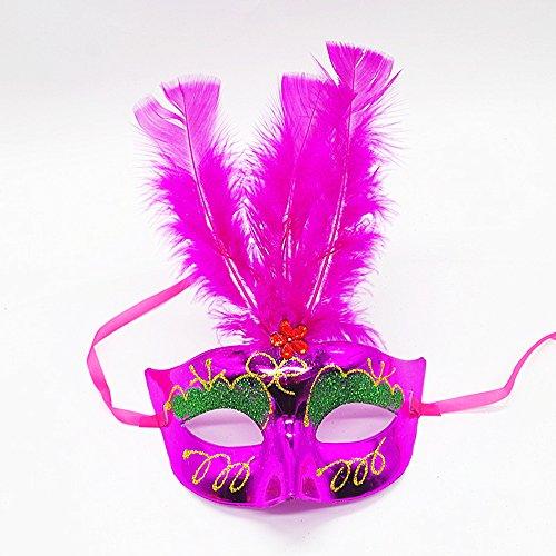 hou zhi liang Frauen venezianischen LED Faser Speedo Damen Taucherbrille Light up Princess Feather Masken für Masquerade Fancy Dress Party zufällige Farbe 1pc