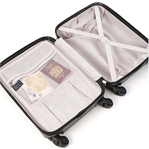 Aerolite Leichtgewicht ABS Hartschale 4 Rollen Handgepäck Trolley Koffer Bordgepäck Kabinentrolley Reisekoffer Gepäck, Genehmigt für Ryanair, easyJet, Lufthansa und viele mehr 3 Teilig Kohlegrau - 6