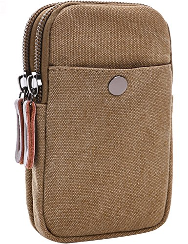 Menschwear Canvas Universal Multipurpose Kapazität Oversize EDC Tasche Tactical Pouches Smartphone Holster Security Pack Carry Accessory Kit Pouch Belt Loops Waist Tasche Gadget Money Pocket Beige