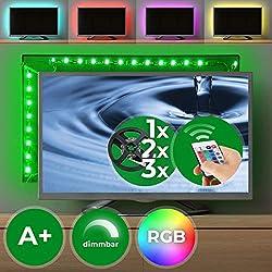TV Hintergrundbeleuchtung - für Modelle 24-60-Zoll, RGB 5050, 12v, Dimmbar, Selbstklebend, mit Fernbedienung und Netzteil - LED Streifen, Stripes, Band, Lichtleise, Ambilight (1er Set)