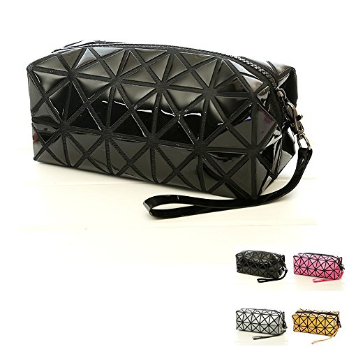 Black Cosmetic Tote Bag für Make-up, Geometrische Foldable Rhombus Falten Gitter Cube Handtasche, Make-up-Tool Aufbewahrungsbeutel Geldbörse Kulturbeutel Organizer (Falte Griff Tasche)