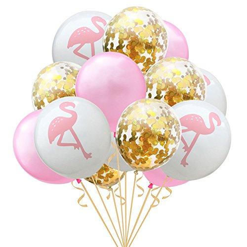 Amasawa 12 Pulgadas Globo Flamingo Globo Gigante de Látex Globos de Confeti Dorado Decoración de Fiesta Hawaiana (15 Paquetes)
