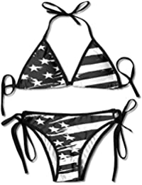 61049bf919 Women's Beach Wear Bikini Sets Black USA Flag Swimsuits