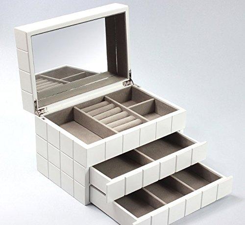 Extra-grande-blanco-Joyero-de-madera-cajn-de-pantalla-espejo-regalo-nuevo
