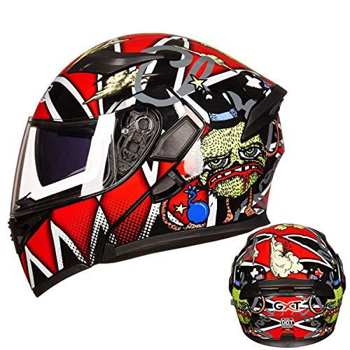 ATEMXI Motorradhelm Racing Schock Roller Helm Cruiser Helm Roller Falthelm Integralhelm,G-XL=60~62cm (Roller Schocks G)