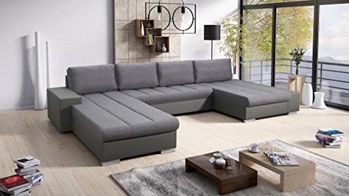 Sofa Couchgarnitur Couch Sofagarnitur VERONA 10 U Ottomane links, die Ottomane kann kostenlos per Nachricht auf rechts geändert werden (Korpus in...