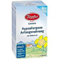 Töpfer Lactana Pre HA, Hypoallergene Anfangsnahrung, 4er Pack (4 x 600g)