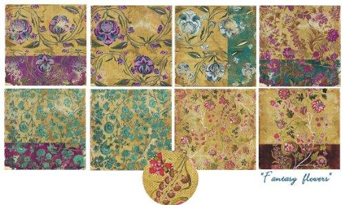 Paper Moon-Set carta per Scrapbooking, 8 fogli, 15 x 15 cm, motivo: fiori fantasia