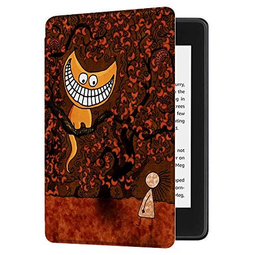 Huasiru Gemälde Hülle Schutzhülle Kindle Paperwhite (10. Generation, 2018 Veröffentlicht) Case Cover, Alice und Katze
