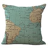 Kingwin - Funda de cojín cuadrada de algodón y lino para almohada, diseño de mapamundi