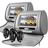 """Sonic Audio hr-7–2x 7""""gris piel sintética coche DVD/Multimedia con 2auriculares inalámbricos por infrarrojos)"""