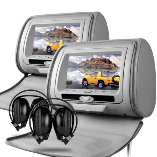 Veyron HR-7 - 2 x 17,78 cm Leder grau-Style DVD/2 x IR Kopfhörer mit Kopfstützen Multimedia