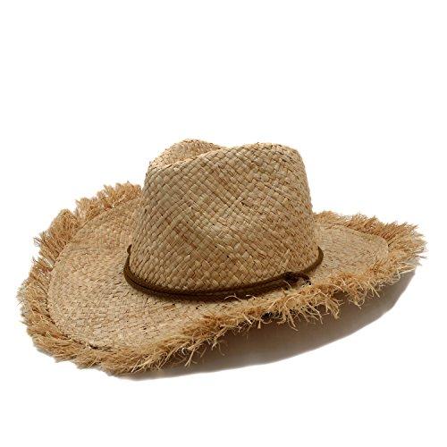 SMC Reine Handarbeit Sommer Frauen Männer Raffia Stroh Cowboyhut Für Gentleman Breiter Krempe Boater Panama Jazz Hüte Pate Sombrero Cap (Farbe : 1, Größe : 56-58CM) (Stroh Boater Hut Kostüm)