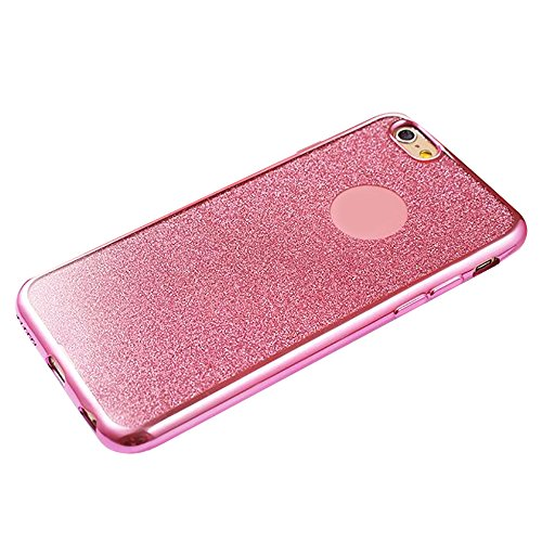 Cuitan TPU Glitter Housse Case pour Apple iPhone 6 / 6s (4,7 Inch), Galvanoplastie Bling Shiny Retour Housse Back Cover Protecteur Etui Coque Cover Shell pour iPhone 6 / 6s (4,7 Inch) - Argent Rose