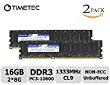 Timetec ® Hynix IC 16GB Kit (2*8GB) Dual Rank 1333MHz DDR3 (PC3-10600) Non-ECC Unbuffered CL9 240-Pin UDIMM 2Rx8 512x8 1.5V Desktop PC Computer Memory Ram Module Upgrade (16GB (2*8GB)) (16GB)