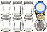 gouveo 24er Set Einmachgläser Hexagon 332 ml inkl. to 66 Deep Silber BLUESEAL