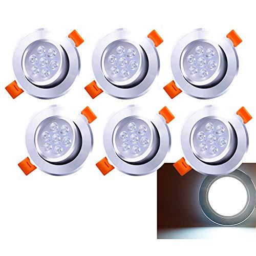 LED Einbaustrahler 6x 7W Kaltweiß 6500K LED Deckenstrahler Schwenkbar Einbauleuchte 560lm Deckenleuchte 230V Deckenspots Wohnzimmer, Schlafzimmer, Bad -