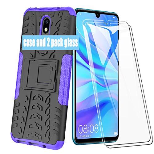 XIFAN Hülle für Nokia 2.2, Weich TPU + PC 2 in 1 Dual Layer Heavy Duty Shockproof Armor Outdoor-Langlauf Serie Case mit Ständer, Lila + 2 Pack Displayschutzfolie Rüstung Series Case
