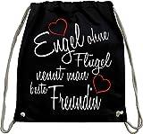 Mister Merchandise Turnbeutel natur Rucksack Engel ohne Flügel nennt man beste Freundin BFF Freund Mädchen Freundschaft Friends Beutel Tasche Schwarz