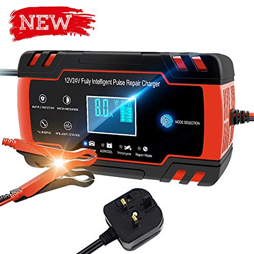 Directtyteam Car Battery Charger Lntelligent 12V&24V car battery charger jump starter (Charges, Maintains and Reconditions Car and Motorcycle Batteries) (Reddish black)