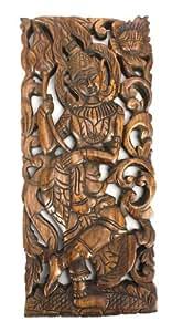Sculpte a la main panneau de bois de teck, Thai dame danseur, seul panneau, 45cm x 20cm