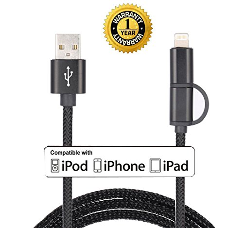 Roreikes [2-in-1-Kabel] Convenient- Ladekabel für iPhone & Micro-USB-Datenkabel 8 Pin High-Speed-Ladekabel für iPhone und Samsung/HTC/Nexus/LG/Motorola/Sony/Blackberry/Android Smartphones , iPad & Android-Tablet - (USB-2-in1-Schwarz)