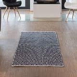 Relaxdays Teppich Läufer Flur 80 x 200 cm, Handmade, Designer Baumwollteppich modern, Kurzflor Flurteppich, schwarz-weiß