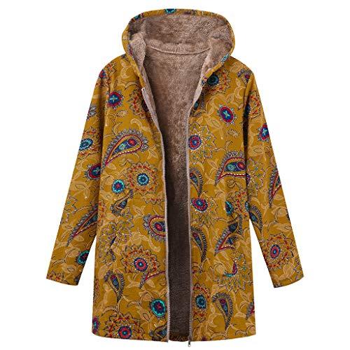 Logobeing Chaqueta Abrigos Mujer Invierno Rebajas Talla Grande Elegantes Suéter Abrigo de Lana con Capucha y Estampado éTnico con Cremallera Vintage Coat (2XL, Amarillo)