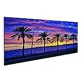 Bild Bilder auf Leinwand Sonnenuntergang hinter den Palmen