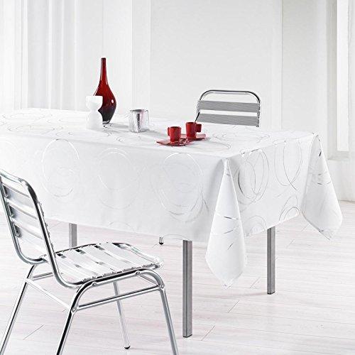L'Harmonie du Décor - Mantel estampado (poliéster, 240 x 150 x 240 cm), color negro y plata