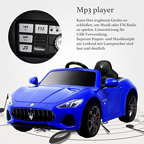 RC Auto kaufen Kinderauto Bild 3: UEnjoy 12V Kinderauto Maserati Grancabrio Elektronik Kinderauto Fahrt auf Auto mit Fernbedienung, Federung, MP3-Player, Beleuchtung, Blau*