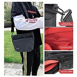 Borsello Uomo Piccolo Borsa a Tracolla Impermeabile Messenger Bag Casual Borse a Spalla in Oxford Messaggero Sacchetto con Multi Tasca per Viaggi Sport Lavoro Pofomede (Nero)