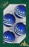 Original Lauschaer Árbol de Navidad–Juego de 4bolas en azul, 7cm.