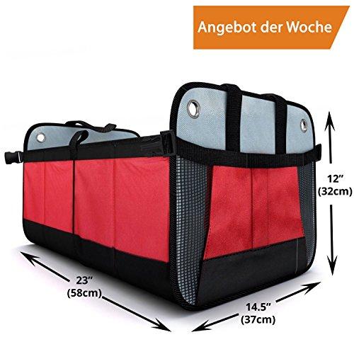 Mk´s FIVE STAR Auto Kofferraum Organizer, 25 kg belastbare und faltbare Kofferraumbox, Kofferraumtasche, Einkaufstasche mit Transport-Tragegriffen, Kofferraum Falttasche rutschfest