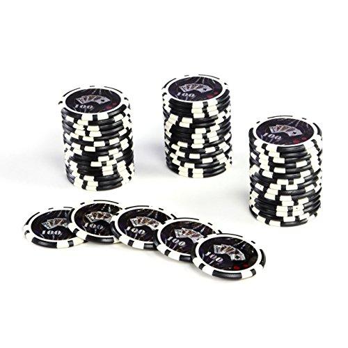 -Chips OCEAN-CHAMPION-CHIP Wert 100 - 12g Metallkern Poker Texas Hold`em Black Jack Roulette - Kanten abgerundet - schwarz (Texas Hold ' Em Plastikkarten)