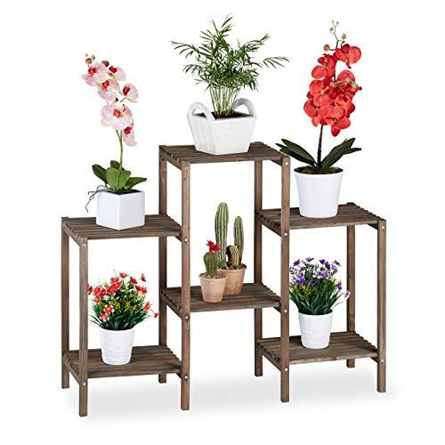 Relaxdays Soporte Plantas Shabby Chic, Estantería Interior para Flores, 6 Baldas, Madera, 70x89x27 cm, Marrón, Mediana
