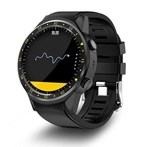 Relojes Deportivos para Hombres y Mujeres, Tarjeta TF, Pantalla 1,3 Pulgadas Bluetooth 4.0 Reloj con GPS y Brújula, Compatible con iOS y Android, Unisex, Negro