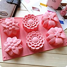 Allforhome Molde de silicona grande con 6 cavidades en forma de flores para repostería, tartas, magdalenas, chocolate, fabricación de jabón artesanal, cubitos de hielo