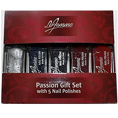 La Femme Mini Nail Polish Gift Set - Passion Set With 5 Nail Polishes - Perfect Gift For Her