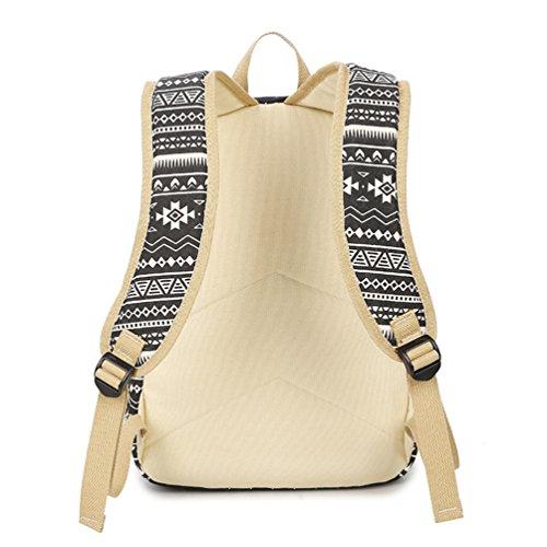 WanYang Rucksack Freizeitrucksack Daypacks Casual Canvas Schulrucksack Set+Handtasche +Geldbeutel Backpack für Mädchen Damen/ Herren Schwarz