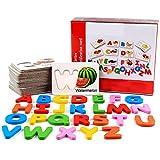 26letras de madera bloque cognitivo juguetes con 26frutas palabras tarjetas de aprendizaje juego juguete para bebé preescolar desarrollo en la primera infancia
