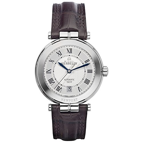 Michel Herbelin Newport Club de yates reloj automático para hombre color marrón oscuro/plata 1666/08ma