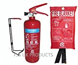 FSS UK PLUS 2 KG ABC DRY POWDER FIRE EXTINGUISHER With FIRE BLANKET. BRITISH STANDARD CE MARKED. IDEAL FOR HOMES KITCHENS WORKPLACE WORKSHOPS OFFICES CARS VANS WAREHOUSES GARAGES HOTELS RESTAURANTS